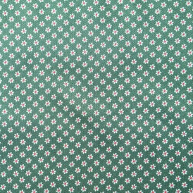 GREEN/RED SMALL FLOWERS 100% VISCOSE