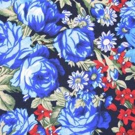BLUE/RED FLOWERS 100% VISCOSE