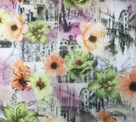 VENETIAN PINK WITH FLOWERS 100% VISCOSE
